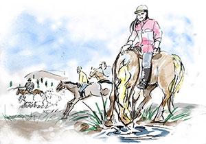 モンゴルで楽しく乗馬