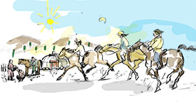 モンゴルの正しい乗馬法
