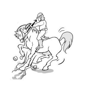 馬の前足がガクッとなったら引き上げてあげる